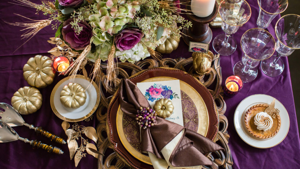 purple and gold thanksgiving place setting