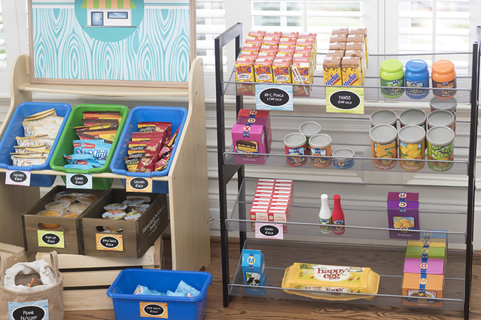 supermarket birthday party play food shelves
