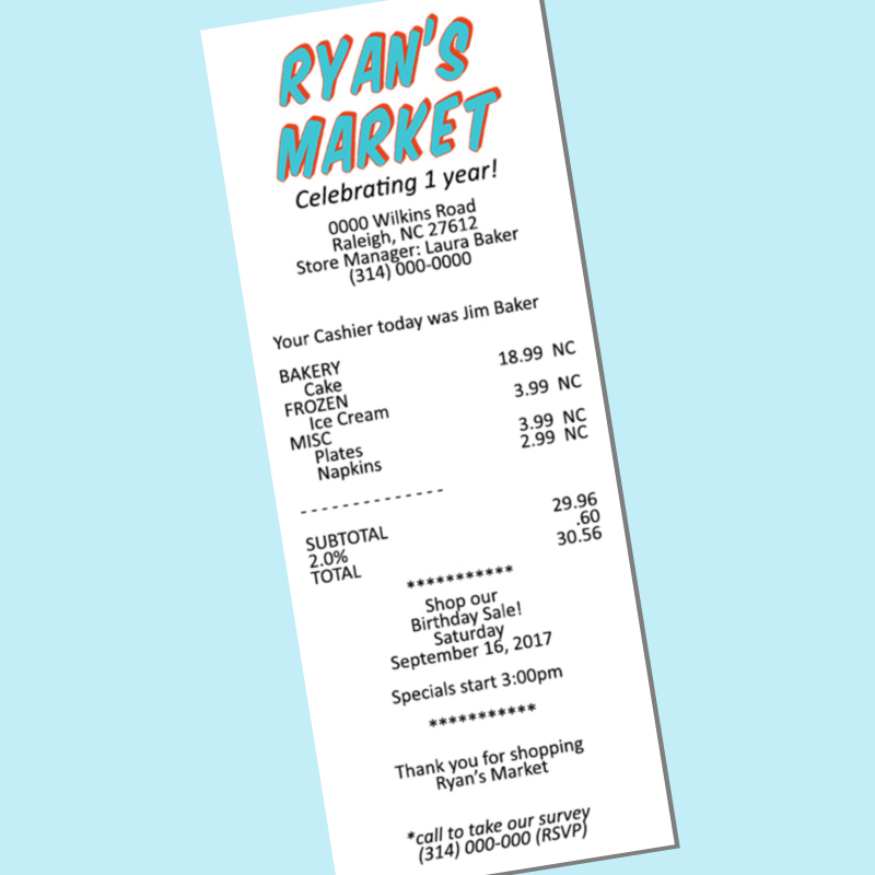 first birthday party invitation grocery store receipt