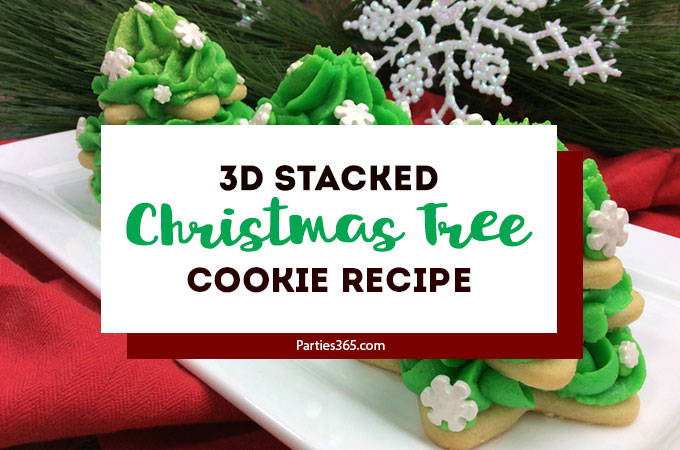 These easy stacked Christmas tree sugar cookies are the best! Our recipe and ideas for decorated star cookies, frosted with green buttercream icing is perfect for teacher, neighbor and kid gifts this holiday season! #holidaybaking #Christmascookies #holidayrecipes