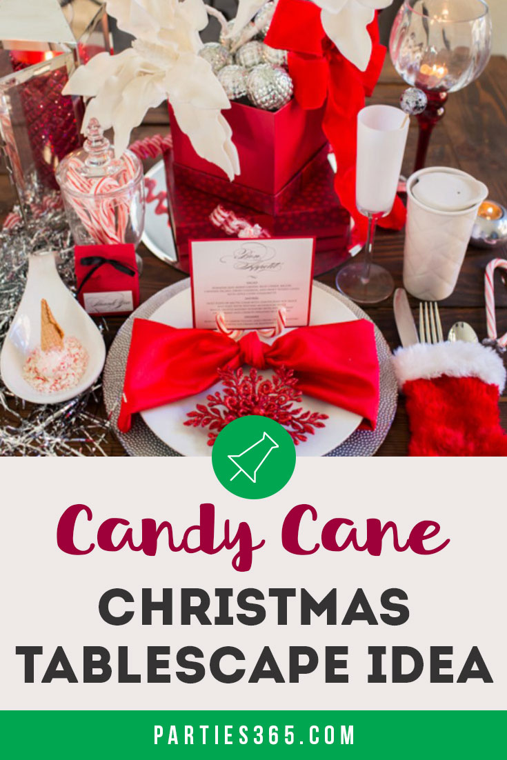 Candy Cane themed Christmas tablescape idea