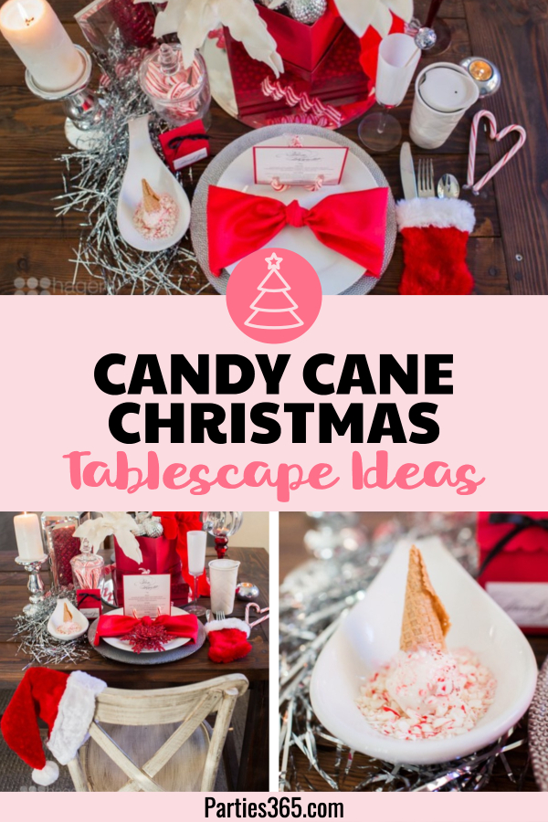 candy cane Christmas tablescape ideas
