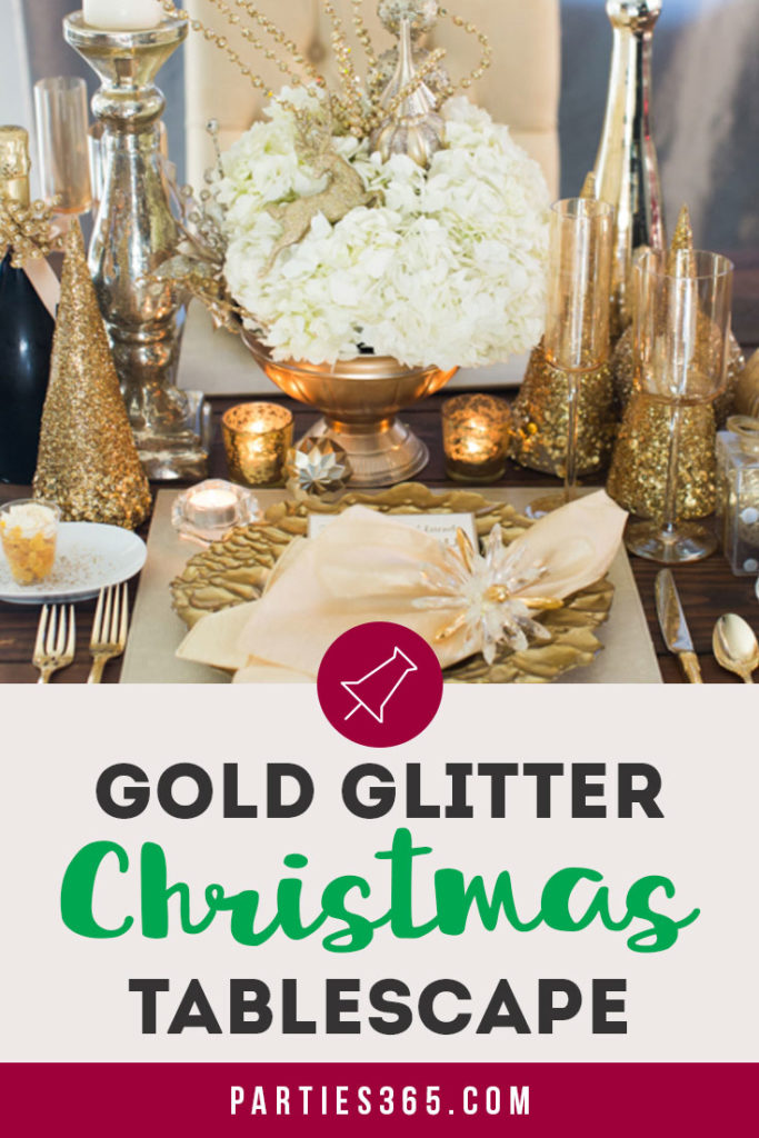 Christmas Table Scape Ideas.Gold Glitter Christmas Tablescape Centerpiece Ideas