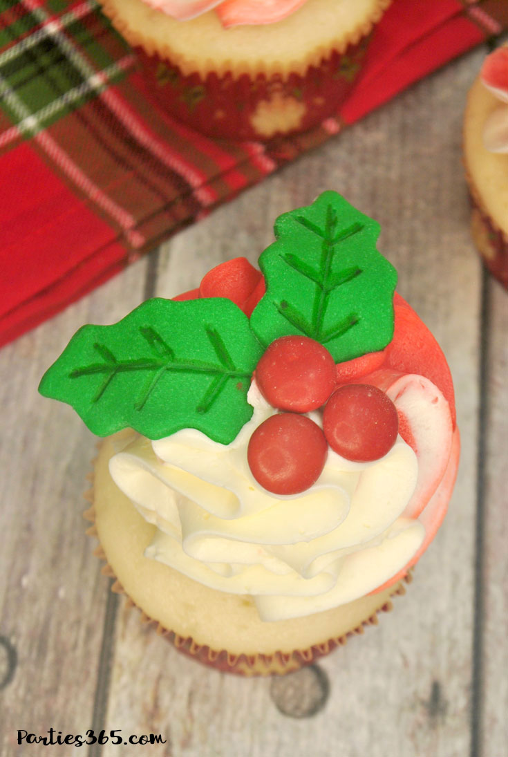 christmas cupcake topped with holly