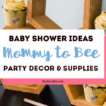 This darling DIY baby shower theme is perfect for the mommy to bee! See all the photos, food, decoration, favors, cake and more for this cute bumble bee baby shower! #babyshower #bumblebee #partysupplies
