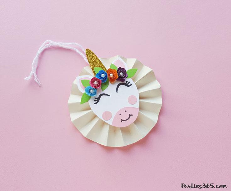 cute DIY paper unicorn ornament for Christmas