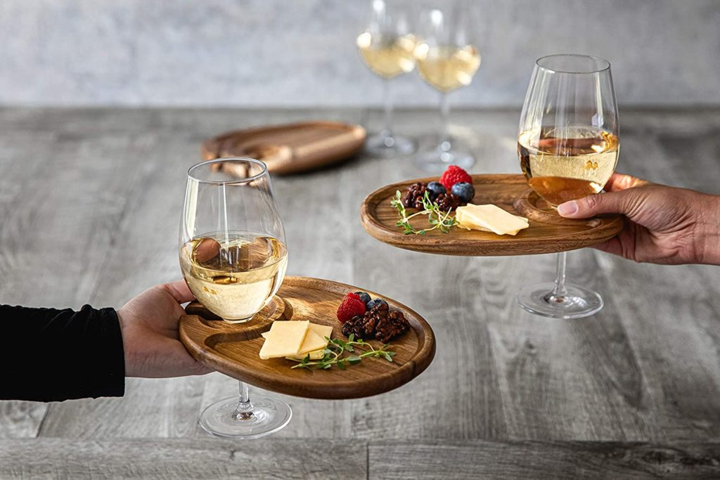 wine lover gift wooden cocktail plate with wine glass holder