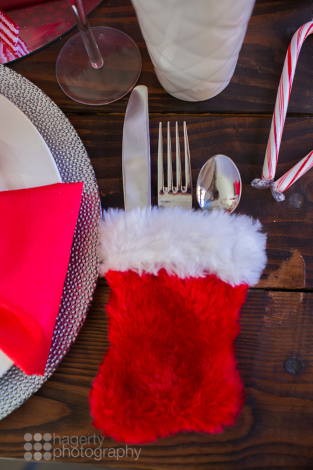 santa stocking silverware holder