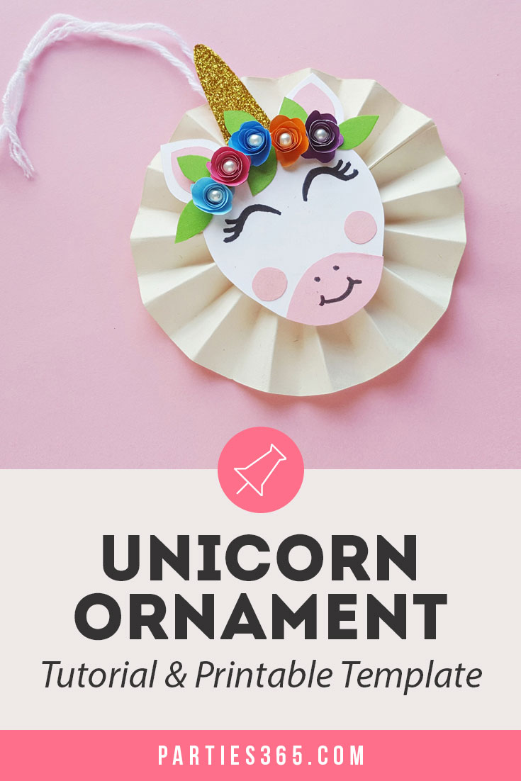 DIY paper unicorn ornament for Christmas template and tutorial