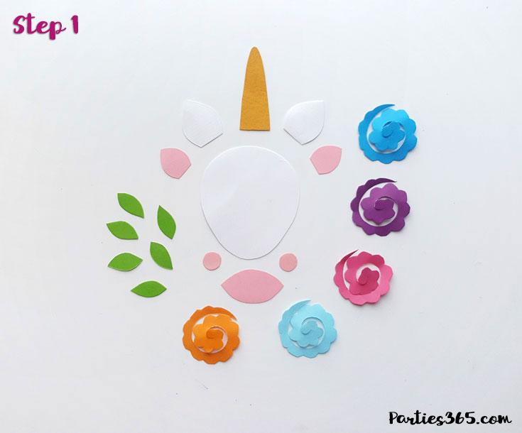 paper unicorn ornament pieces