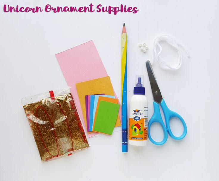 unicorn ornament crafting supplies