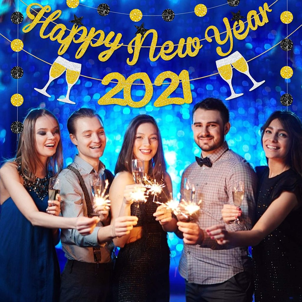 happy new year 2021 party banner