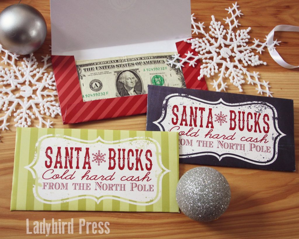 santa bucks printable money holder