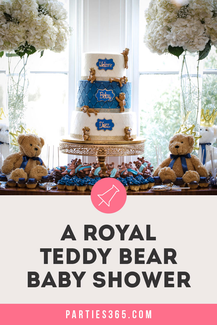 a0b7d1896 A Royal Teddy Bear baby shower theme is so much fun for a baby boy or