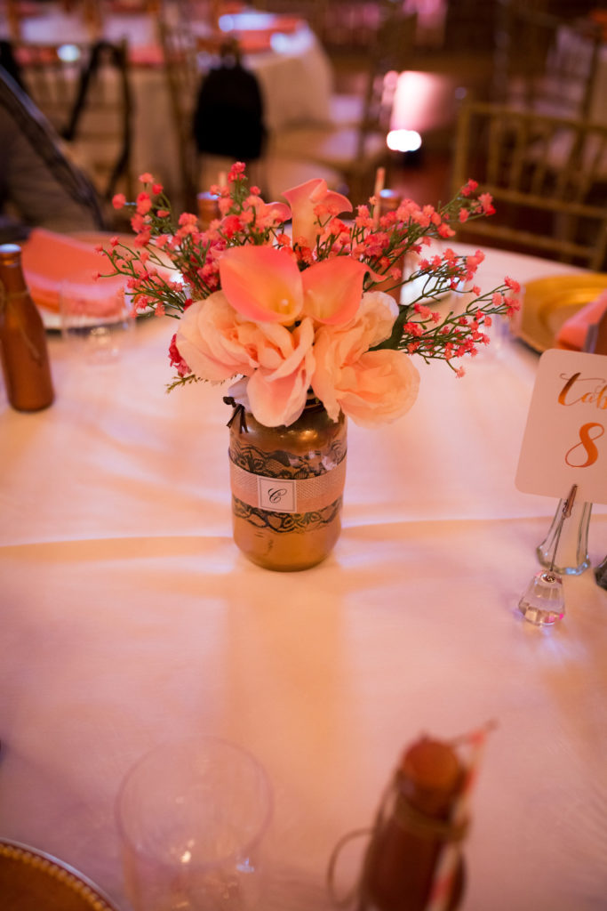 Quinceanera party centerpieces with pink roses