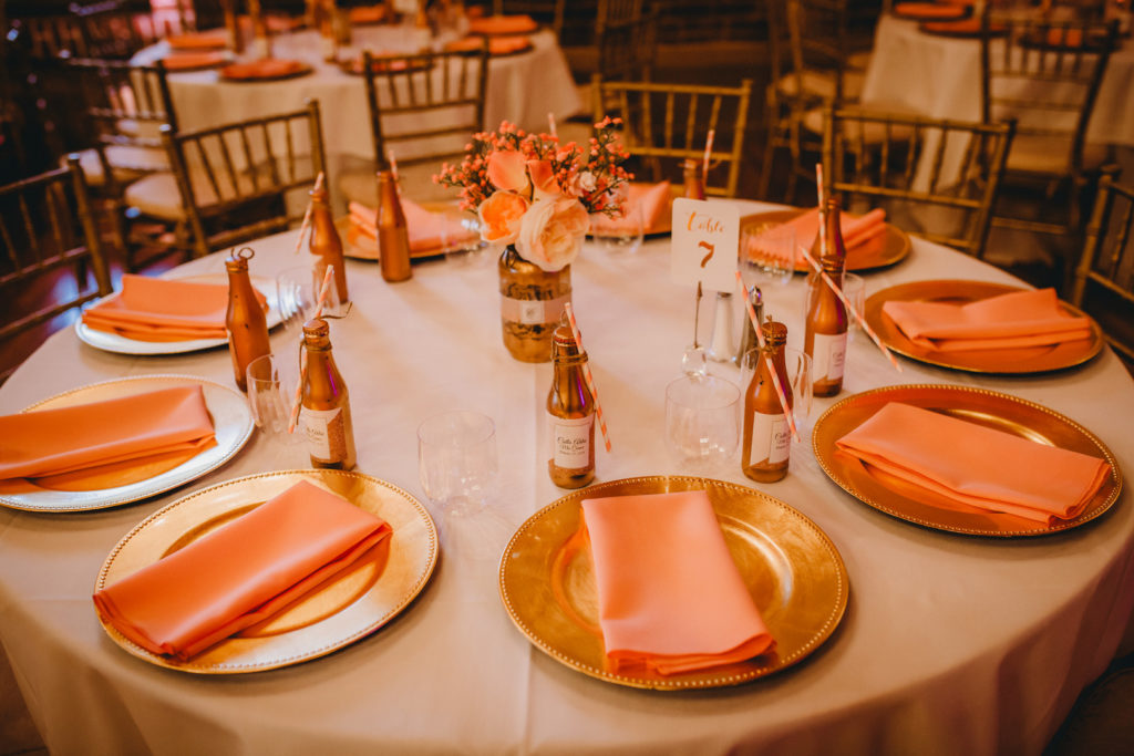rose gold Quinceanera party tablescape