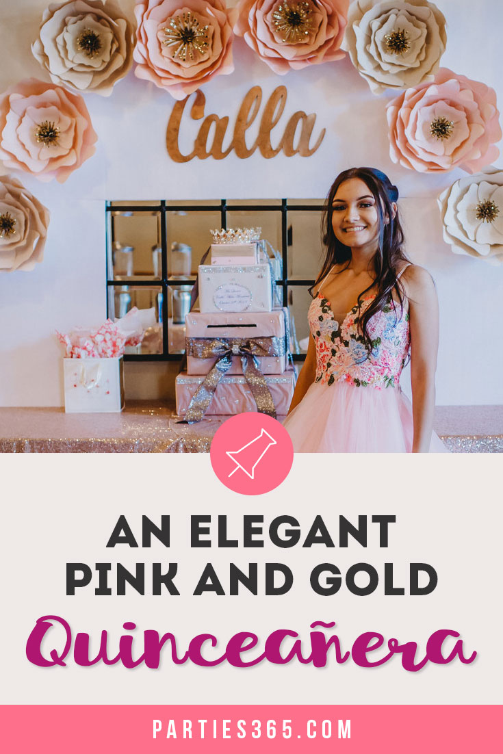 Pink and Gold themed Quinceanera