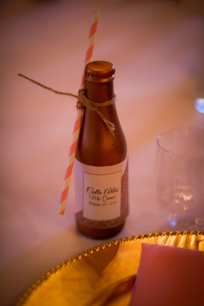 Quinceanera party favor soda bottles with paper straws