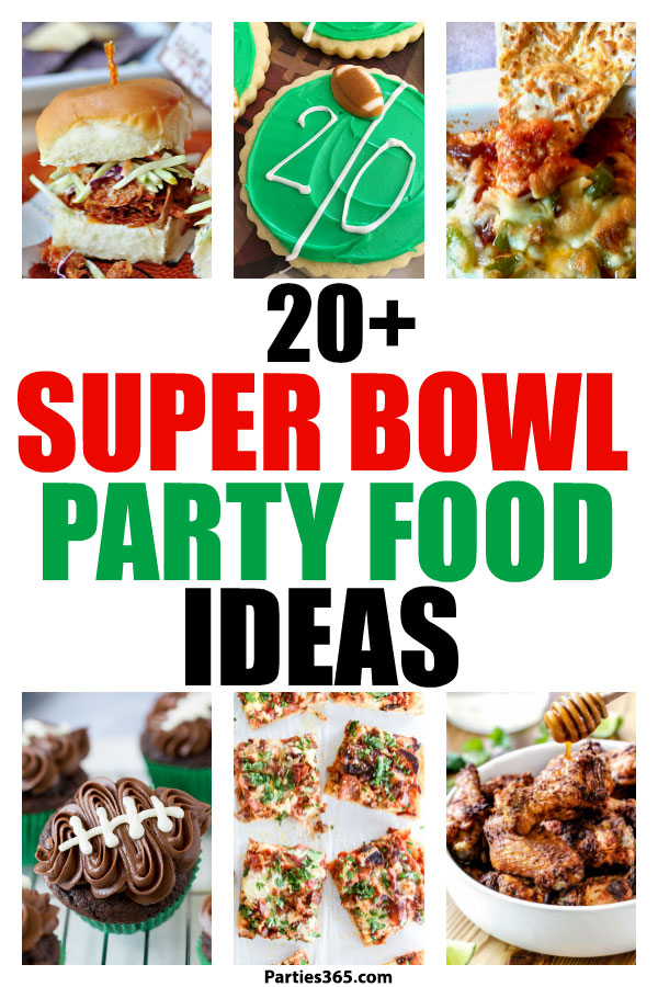 Ready to kickoff your Super Bowl or football themed party and need food, dessert and drink ideas? Whether you're hosting a tailgating or a birthday party we have 25 appetizers, main dishes, desserts and drinks (for kids and adults) that your guests will cheer for! #football #superbowl #partyfood #birthday #drinks