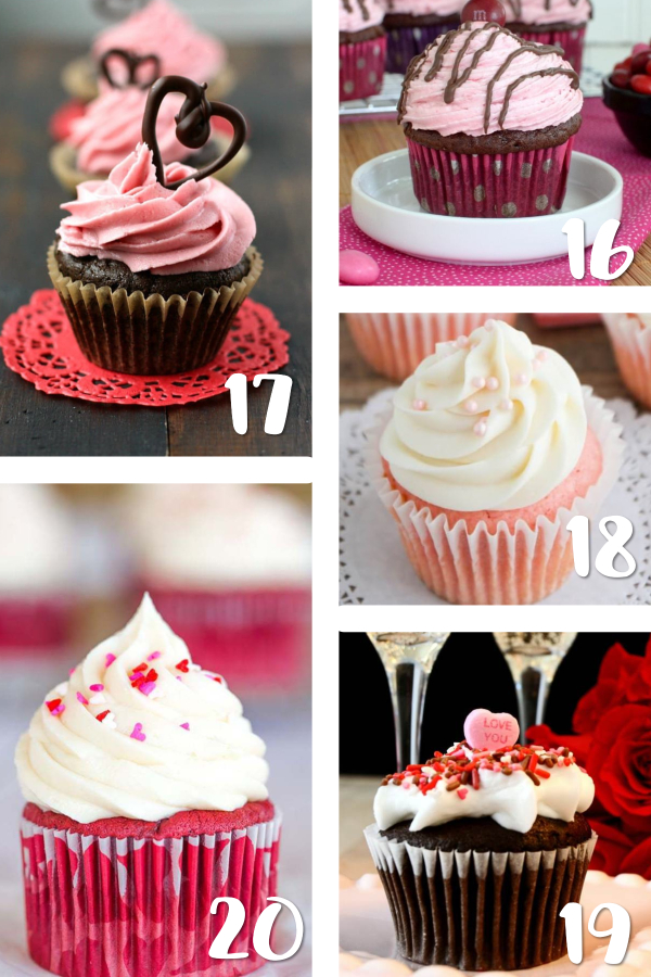 Want to bake a sweet cupcake for your kids or for him for Valentine's Day but need ideas? Whether it's for a party, the classroom or your sweetheart, you'll love these cute and creative Valentine's cupcake recipes! #Valentines #ValentinesDay #cupcakes #recipes
