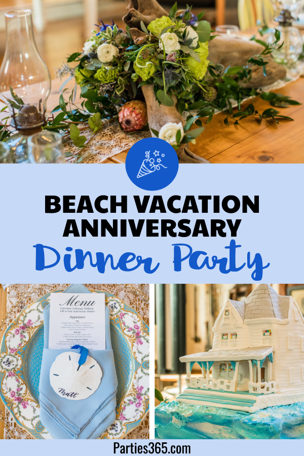 beach vacation anniversary dinner party