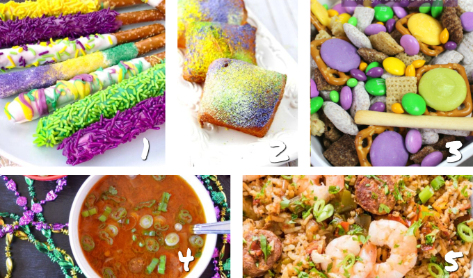 Let the good times roll with a festive Mardi Gras party! We have over 20 ideas and recipes for food, desserts, drinks and decorations to make yours a party to remember! #mardigras #partyideas #mardigrasrecipes
