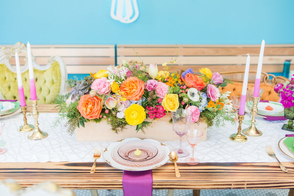 spring floral centerpiece at birthday party