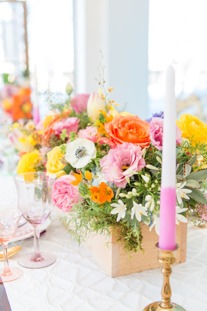 spring floral centerpiece in wooden box
