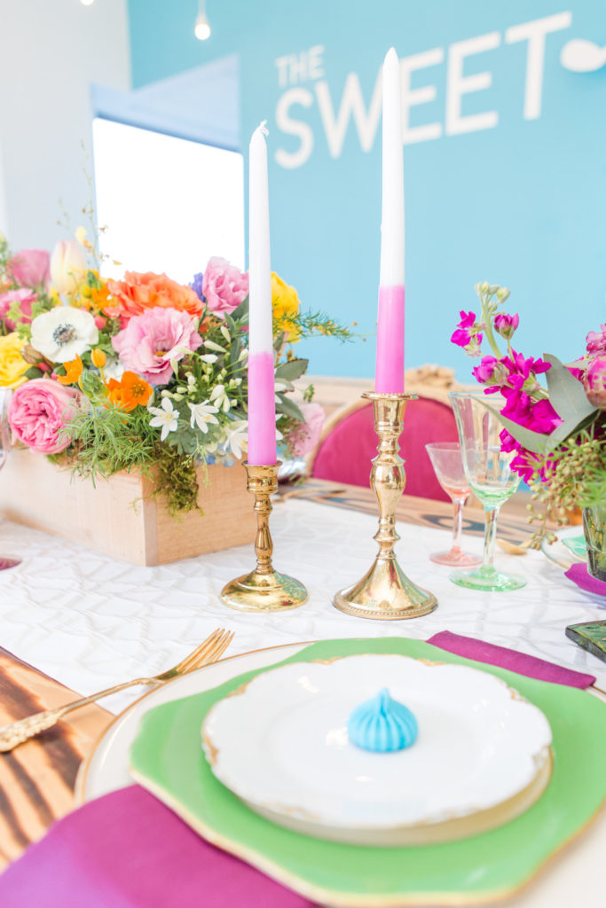 spring birthday party place setting and centerpiece
