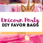 Throwing a girls unicorn party and want a cute idea for a DIY favor bag? This free printable template and tutorial for unicorn goody bags is perfect for kids birthdays or showers! #unicorns #unicornparty #printable #favors