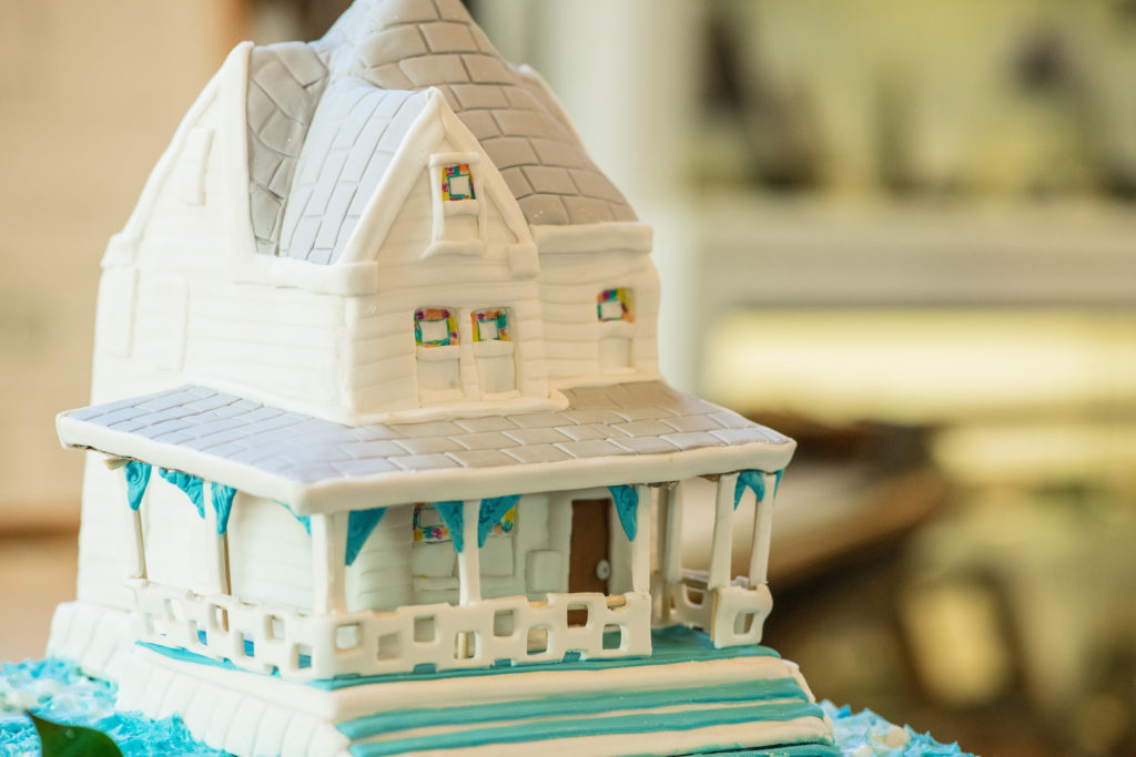 white beach house custom cake