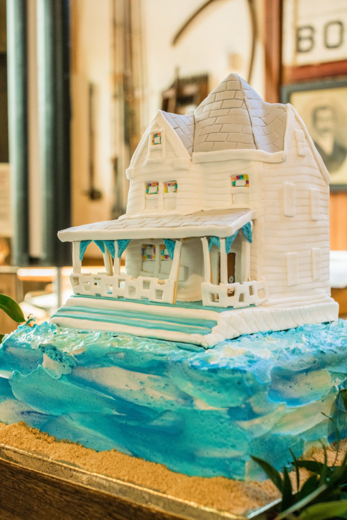 white beach house cake