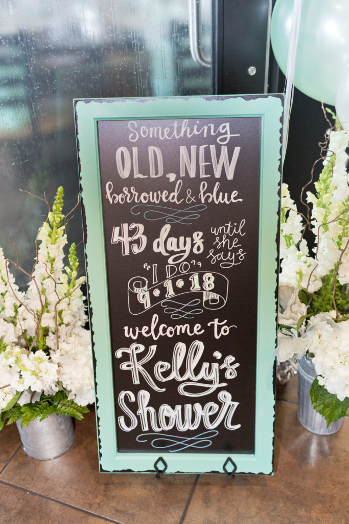 mint green chalkboard welcome sign surrounded by white flowers