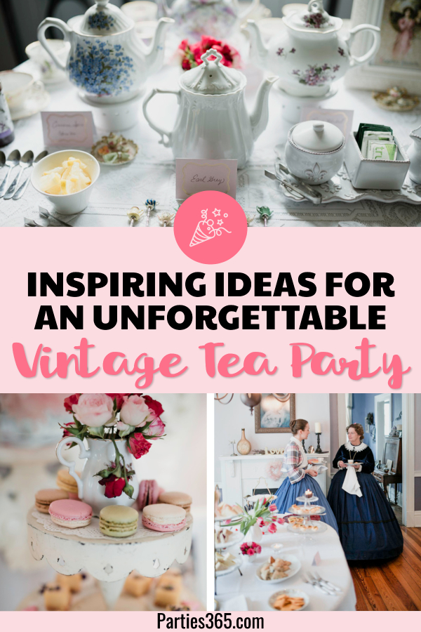 A tea party is a fun theme for girls of all ages - including adults! This Vintage Tea Party is full of decorations, food and ideas to make your next girls night, birthday or shower unforgettable! #teaparty #partyideas #galentinesday #partydecor