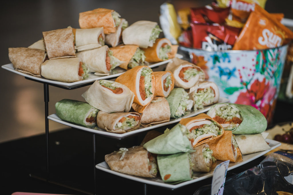 sandwiches on stands at baby shower