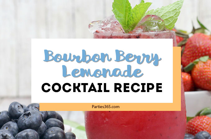 This Bourbon Berry Lemonade cocktail is an easy spring drink that will please a crowd! Get the simple cocktail recipe, made with fresh strawberries and blueberries for your next summer party! #bourbon #cocktail #drinkrecipe #springparty #summer