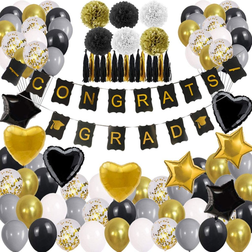 black and gold graduation party supplies