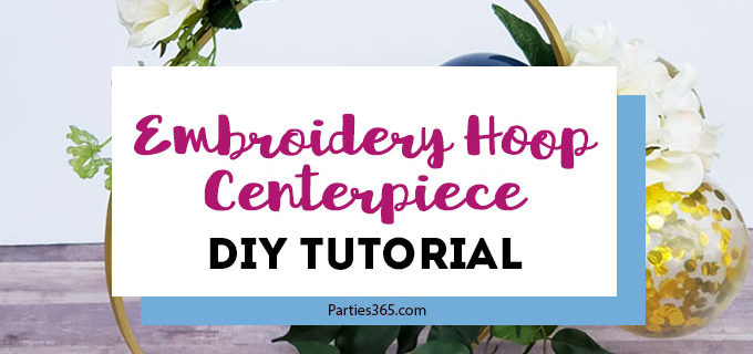 This unique DIY centerpiece, made from an Embroidery Hoop, flowers and mini balloons, is perfect for a party, birthday, wedding, graduation or anniversary! This simple crafts project tutorial will show you how to create beautiful decor for your big event! #centerpiece #embroideryhoop #partydecor #partyideas
