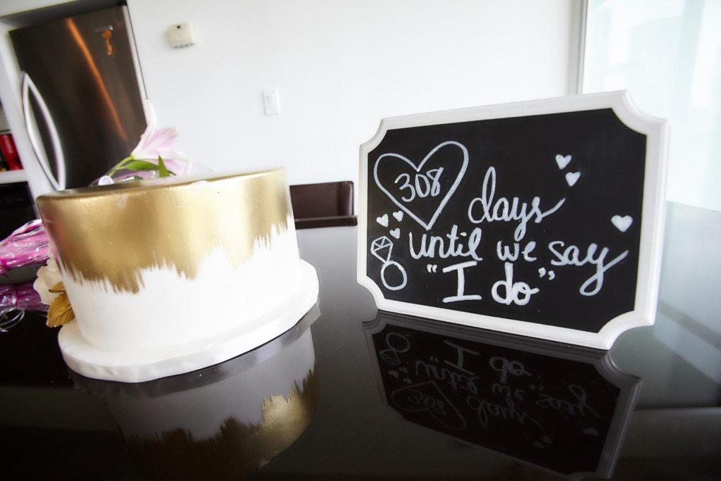 chalkboard wedding countdown sign