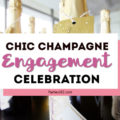 Planning an engagement party and need DIY ideas for decorations and themes? Keep things simple by focusing on metallics and champagne! This chic champagne celebration will inspire your cake, outfit, favors and more! #engagementparty #weddingshower #partythemes #partydecor