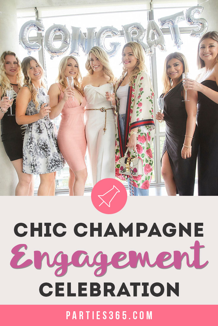 chic champagne engagement celebration