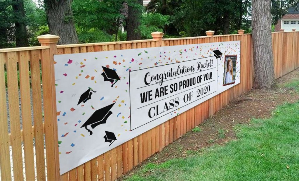 personalized graduation fence banner
