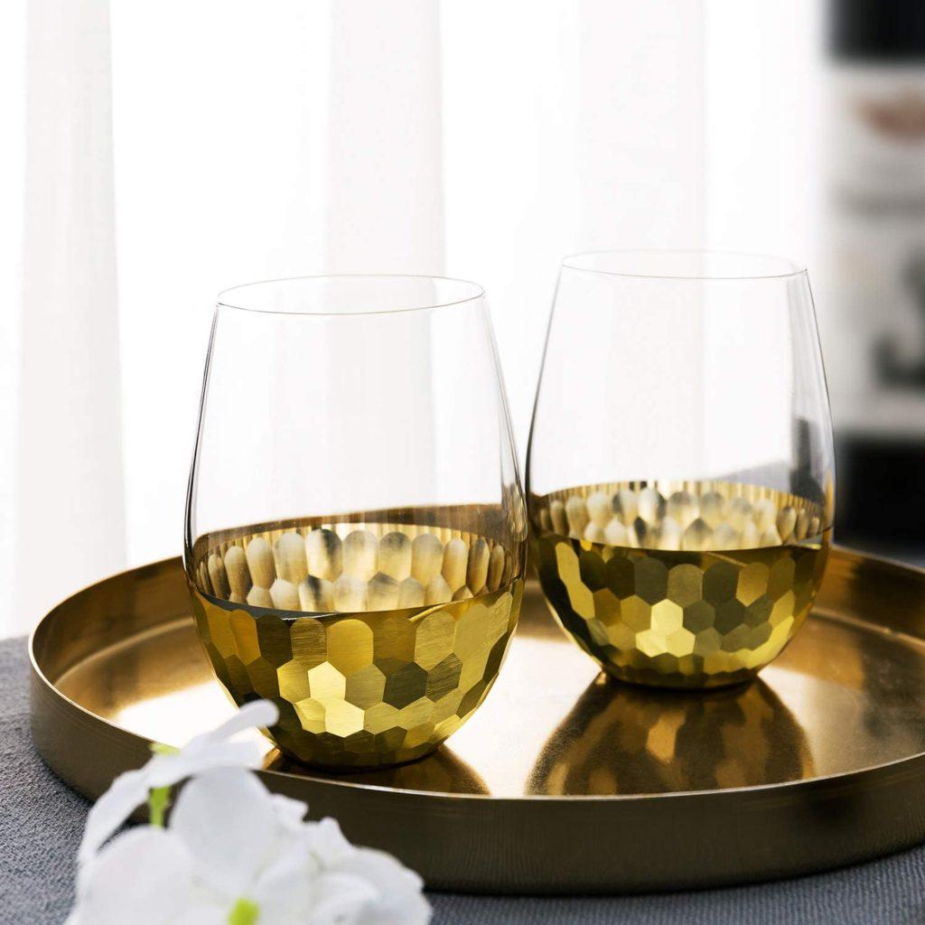 hammered brass cocktail glasses