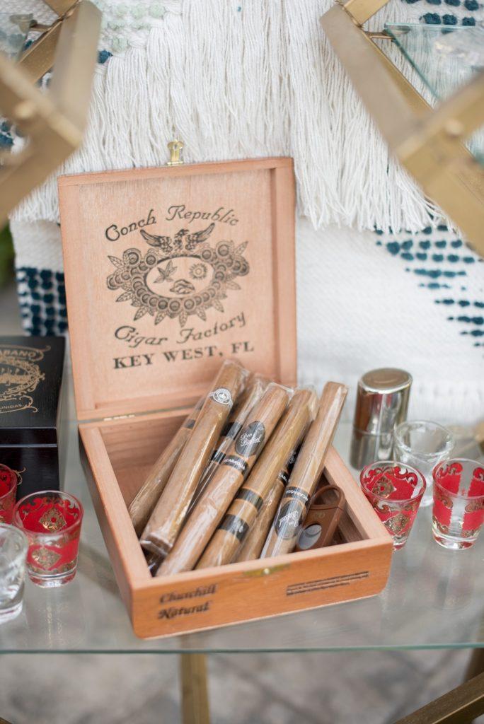 cigar bar at moroccan birthday party