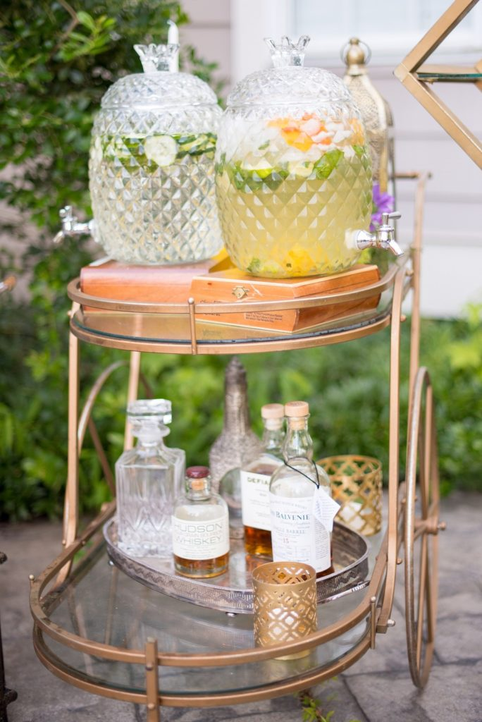 styled bar cart at outdoor birthday party