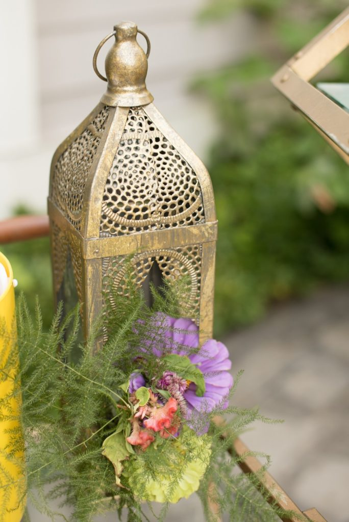 flowers in gold moroccan lantern