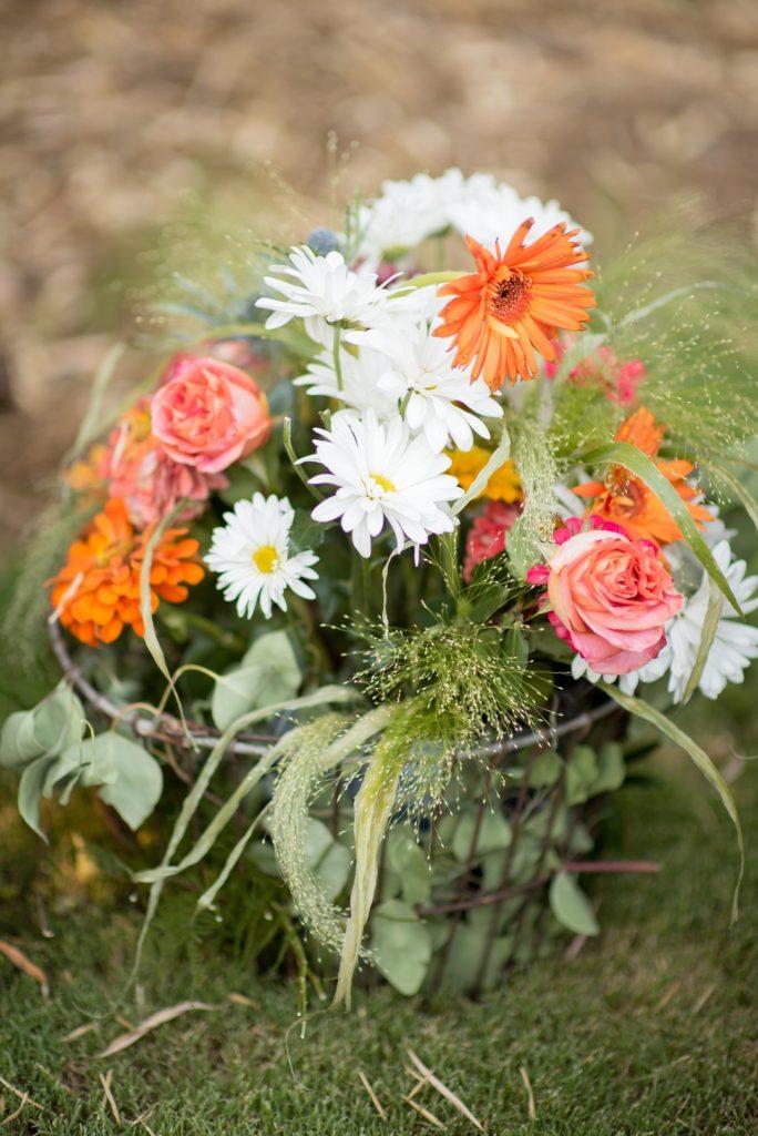 wild flowers in wire basket