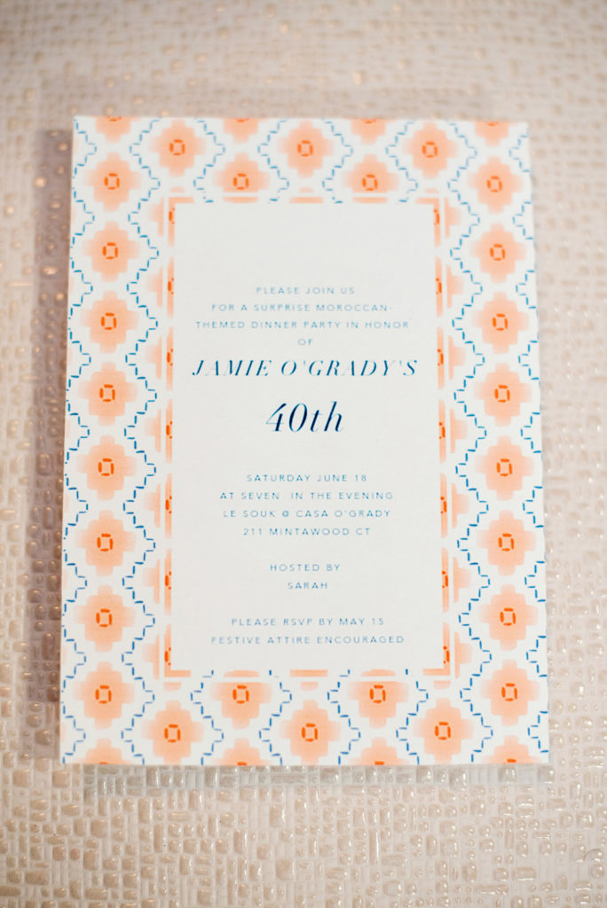 Moroccan inspired orange and blue party invitation for 40th birthday