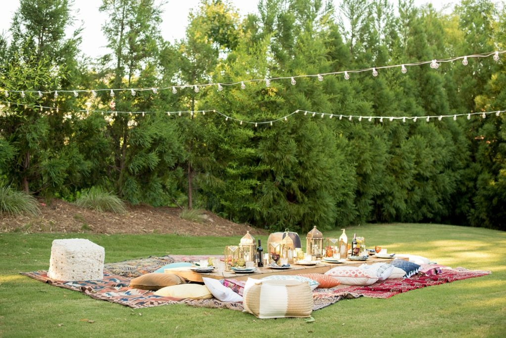 backyard Moroccan themed dinner party