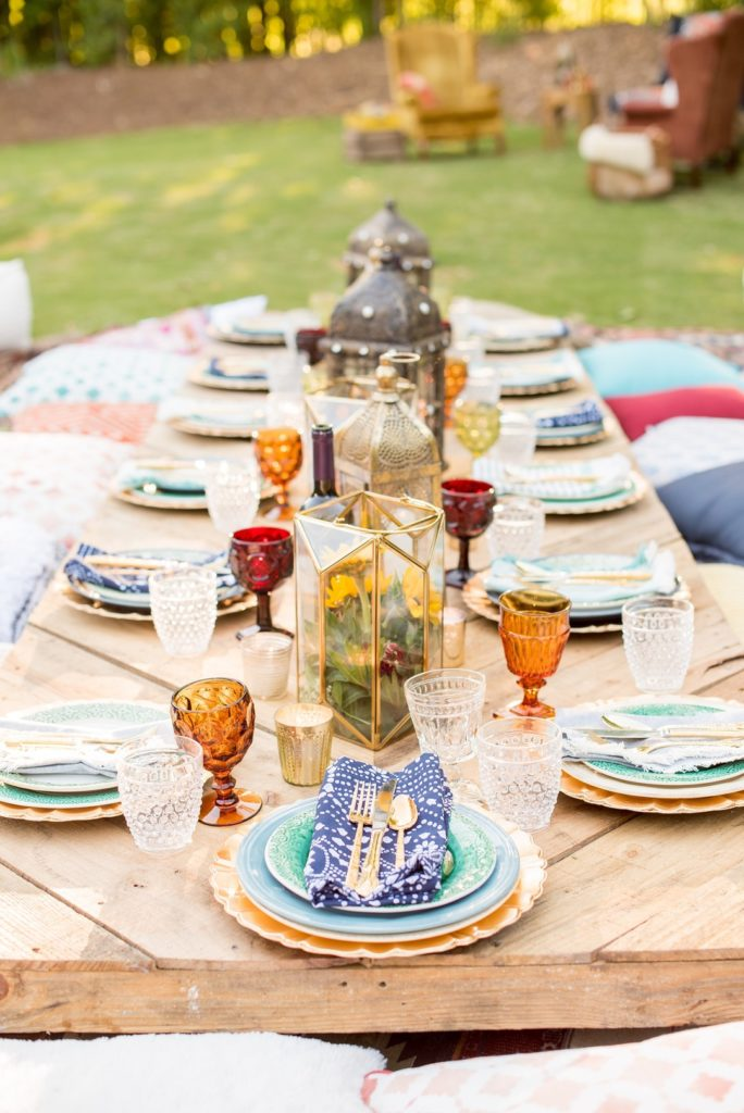 tablescape for moroccan outdoor 40th birthday dinner party